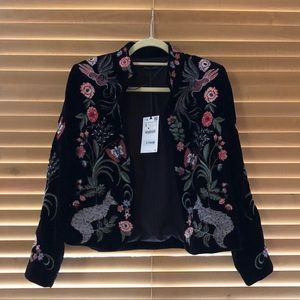 Zara Velvet Jacket with Embroidery NWT